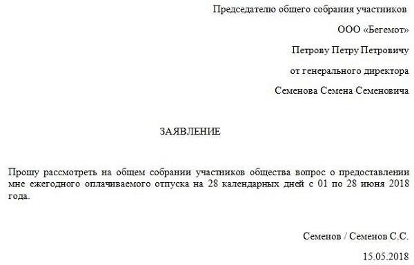 Правила оформления заявления на отпуск генерального директора – на чье имя, кто подписывает, писать ли самому себе?
