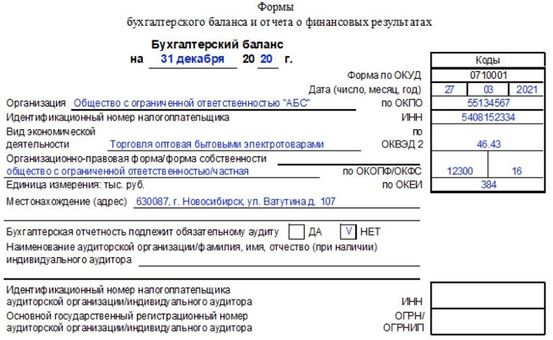Сдаем бухгалтерский баланс за 2020 год - инструкция по заполнению и образец